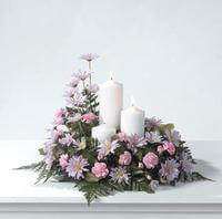 TABLE MEMORIAL WITH TRINITY OF CANDLES